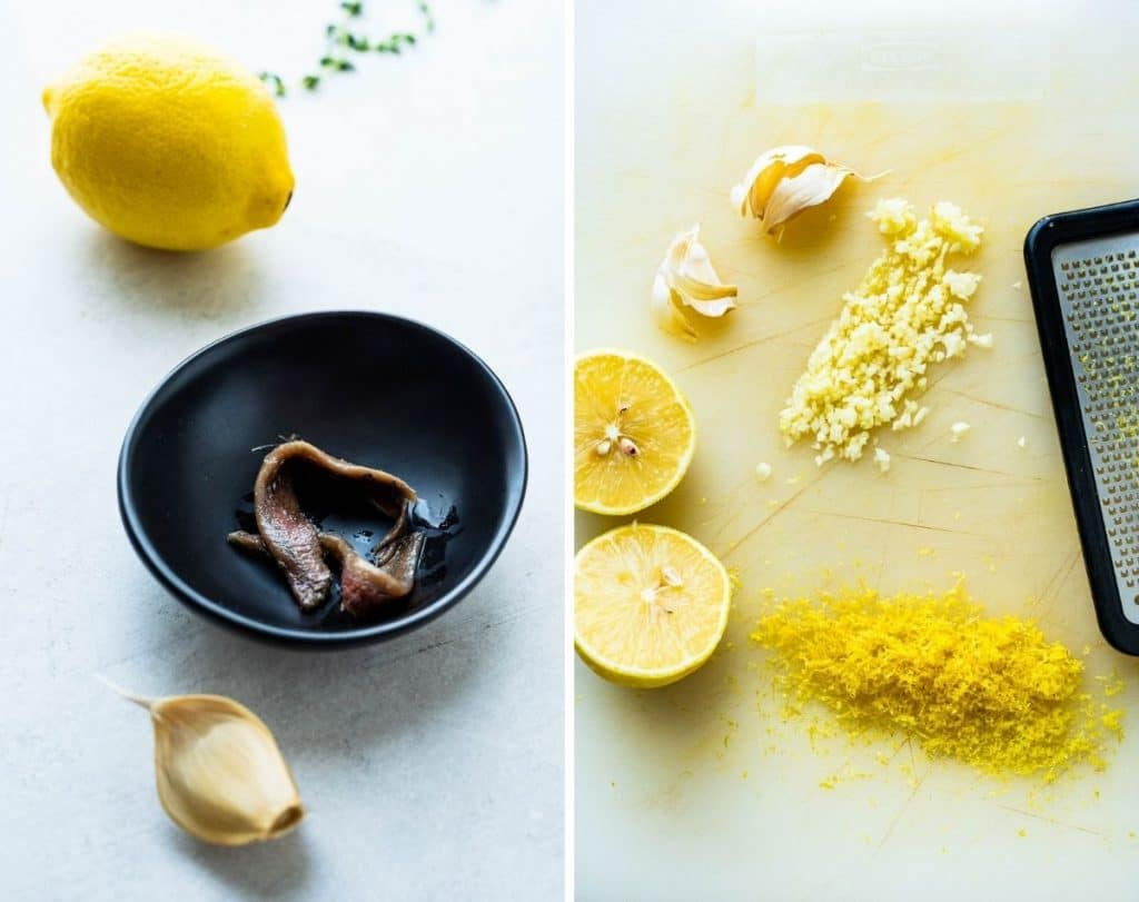 anchovies, garlic and lemon zest for the olive dip.