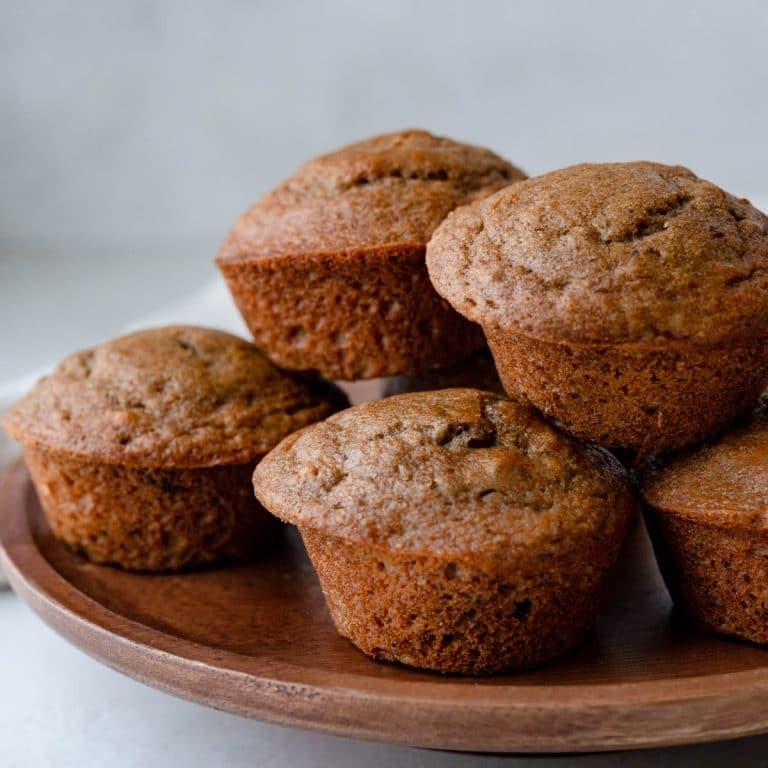 a platter of applesauce walnut muffins.