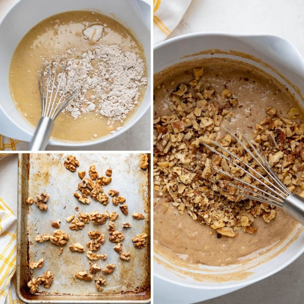 blending dry and wet ingredients and adding toasted walnuts to the applesauce muffin batter.