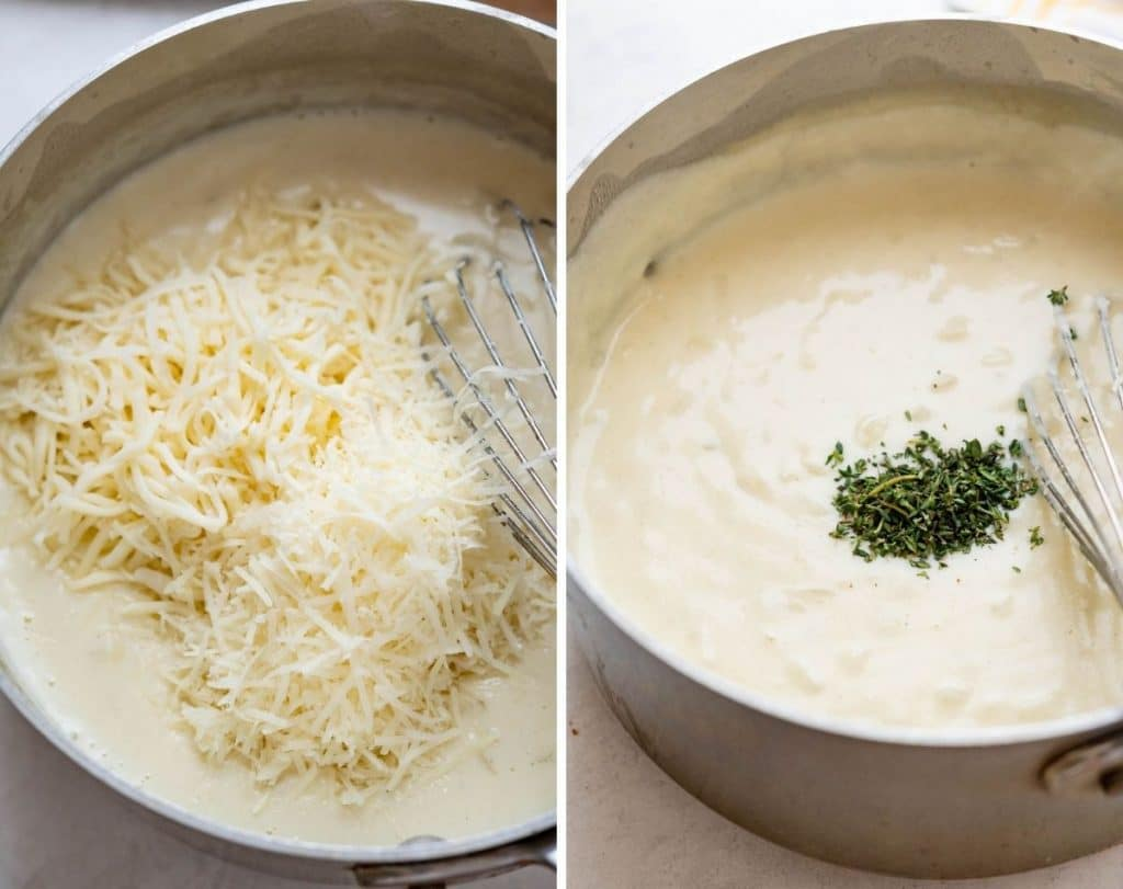 adding grated cheese and fresh thyme to the sauce.