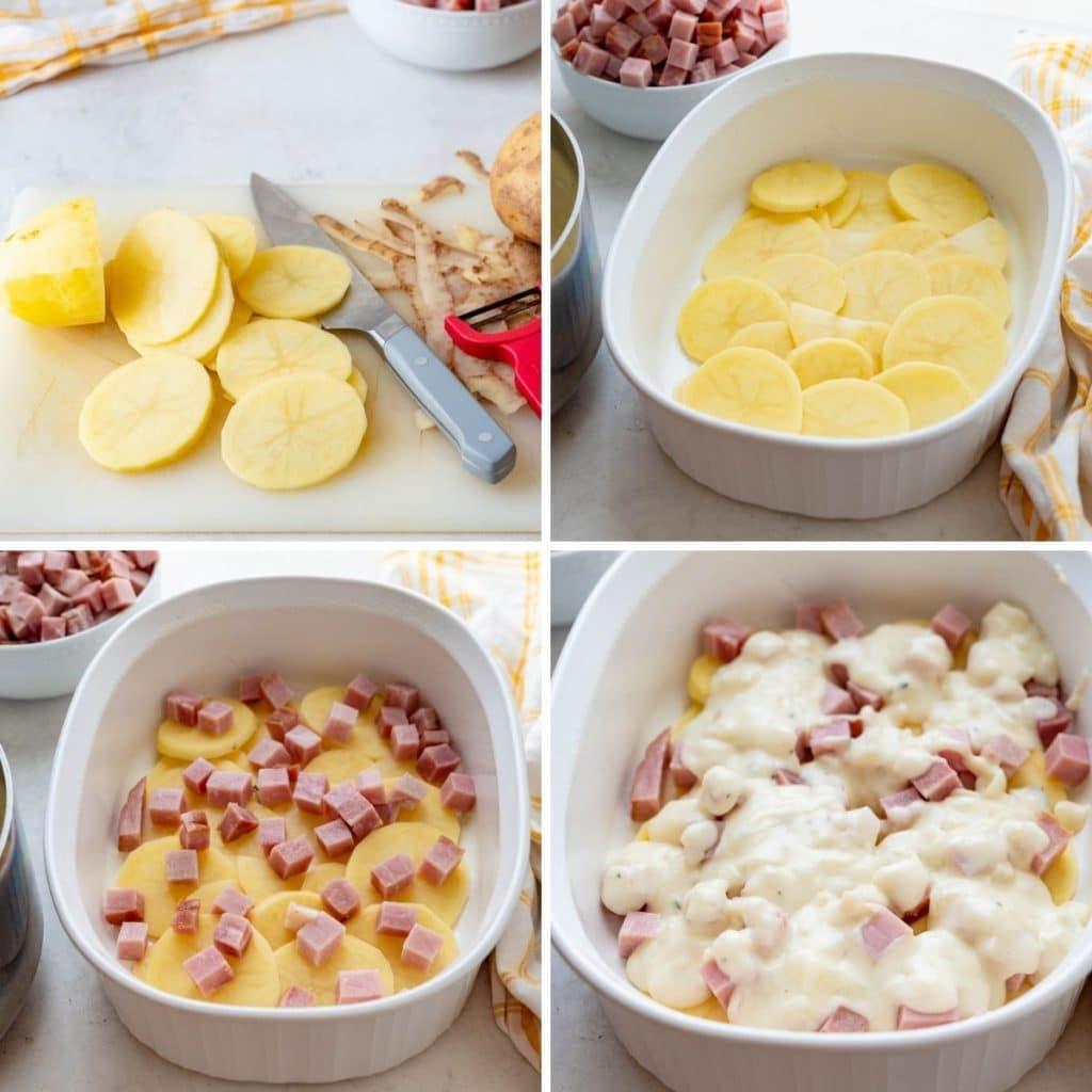 layering the potato and ham au gratin in a casserole dish.