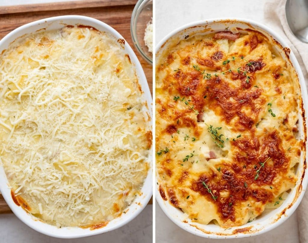 Gratinée the scalloped potatoes and ham with a layer of grated cheese and cook until browned and bubbly.